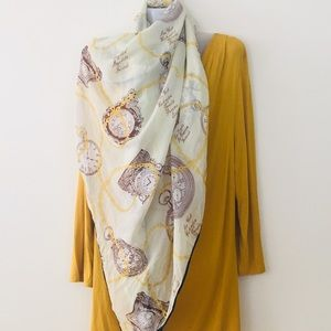Accessories - Womens Scarf Clocks Cream Yellow Brown Steampunk